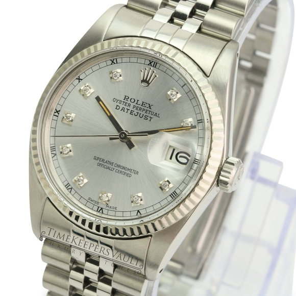Rolex Other - Rolex Mens Datejust Silver Diamond Dial 36mm